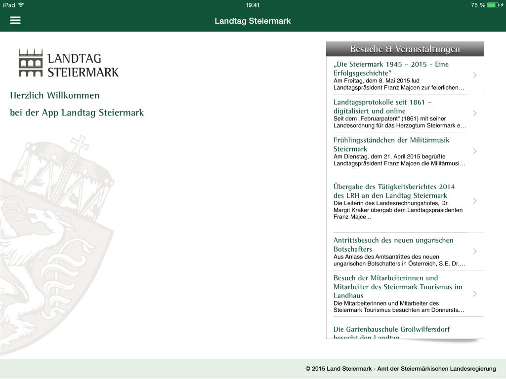 Landtag Steiermark App - Welcome Screen