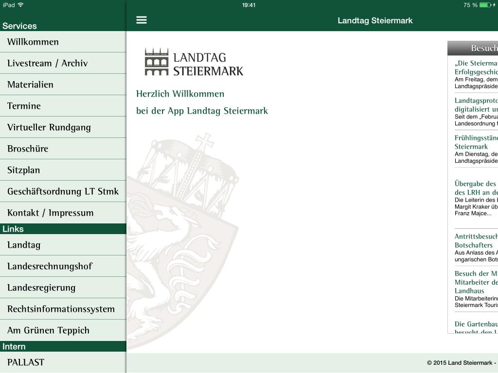 Landtag Steiermark App - Slide Out Menu