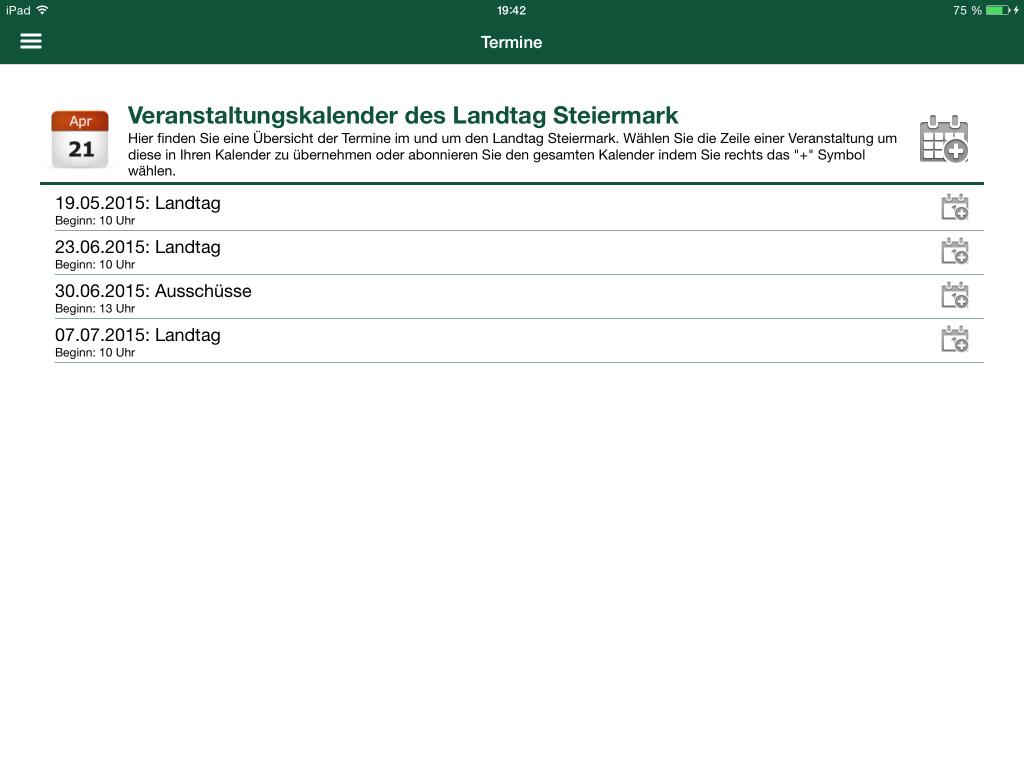 Landtag Steiermark App - Termin Übersicht
