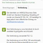 Browser Zertifikatsanzeige: Erweiterte Organisations Validierunges Zertifikat
