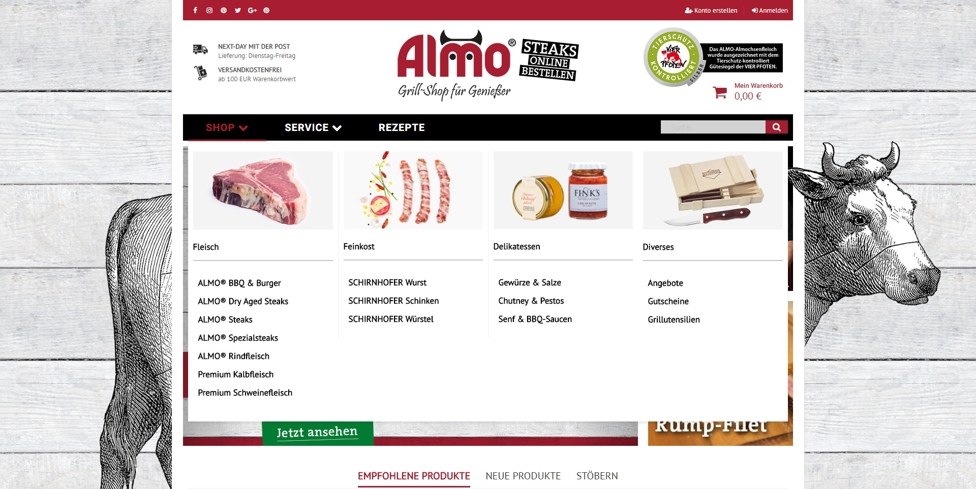 Almo-Shop Menü